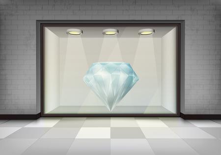 vitrine: diamond jewel in illuminated storefront vitrine concept illustration