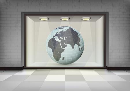 vitrine: African trade market in illuminated storefront vitrine concept illustration Illustration