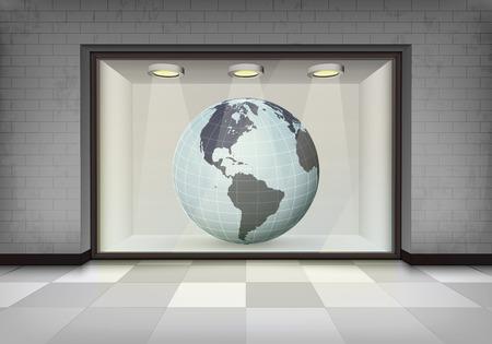 vitrine: American trade market in illuminated storefront vitrine concept illustration Illustration