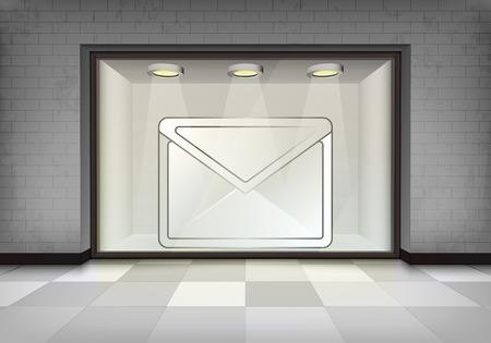 vitrine: message in illuminated storefront vitrine concept illustration