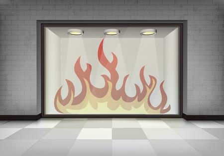 vitrine: flame explosion in illuminated storefront vitrine concept illustration