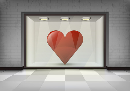 vitrine: love product retail in illuminated storefront vitrine concept illustration
