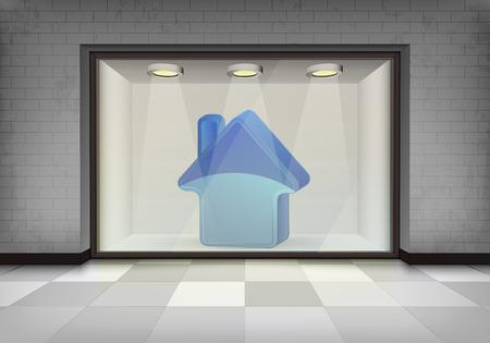 vitrine: new house retail in illuminated storefront vitrine concept illustration Illustration