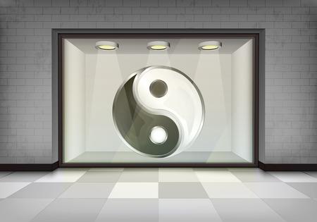 vitrine: culture harmony icon in illuminated storefront vitrine concept illustration