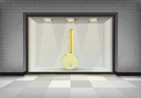 vitrine: key to success in illuminated storefront vitrine concept illustration Illustration
