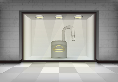 vitrine: open padlock in illuminated storefront vitrine concept illustration