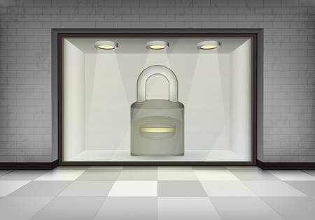 closed padlock in illuminated storefront vitrine concept illustration Vector