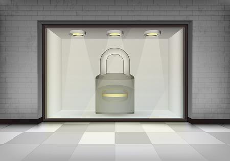 vitrine: closed padlock in illuminated storefront vitrine concept illustration Illustration