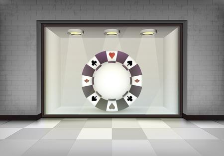 vitrine: poker chip in illuminated storefront vitrine concept illustration