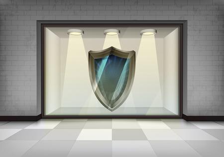 vitrine: safety shield symbol in illuminated storefront vitrine concept illustration