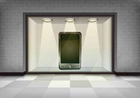 vitrine: new smart phone in illuminated storefront vitrine concept illustration Illustration