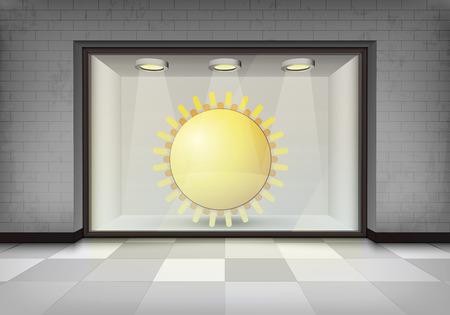 vitrine: holiday sun in illuminated storefront vitrine concept illustration