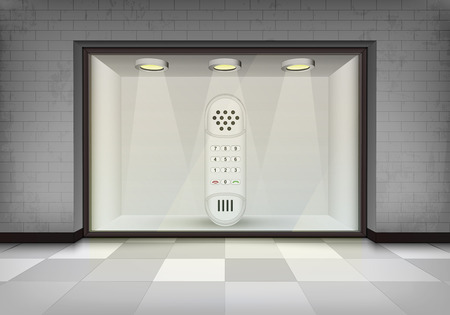 sidewalk talk: dial telephone in illuminated storefront vitrine concept illustration Illustration
