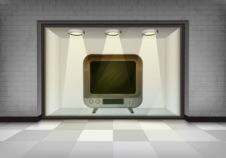 vitrine: retro television in illuminated storefront vitrine concept illustration