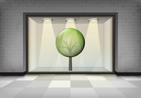 vitrine: leafy tree in illuminated storefront vitrine concept illustration