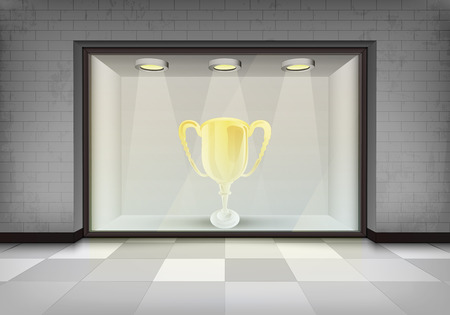 golden champion cup in illuminated storefront vitrine concept illustration Vector