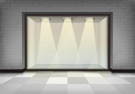 vitrine: empty illuminated storefront vitrine concept illustration