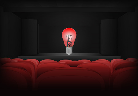 danger warning on the stage in theater interior illustration Vector