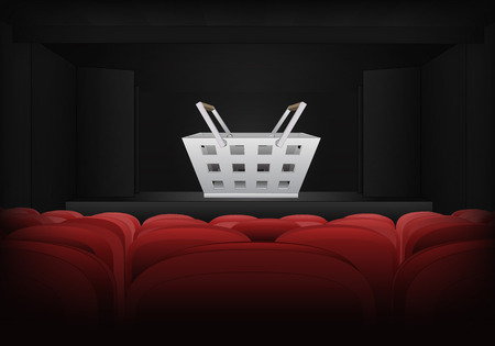 armchair shopping: shopping basket on the stage in theater interior illustration