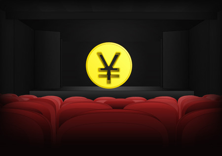 yuan: golden Yuan coin on the stage in theater interior illustration