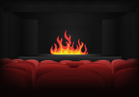 inferno: fire inferno on the stage in theater interior illustration Illustration