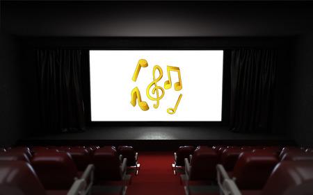 empty cinema auditorium with music advertisement on the screen illustration illustration