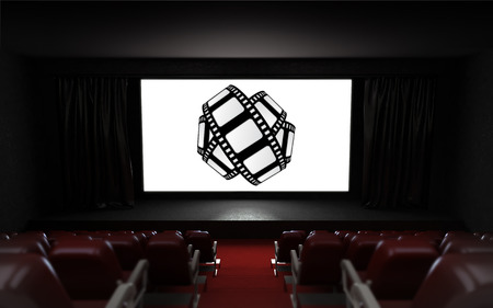 cinema screen: empty cinema auditorium with movie advertisement on the screen illustration
