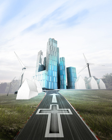 godness: futuristic business city with painted cross on road illustration