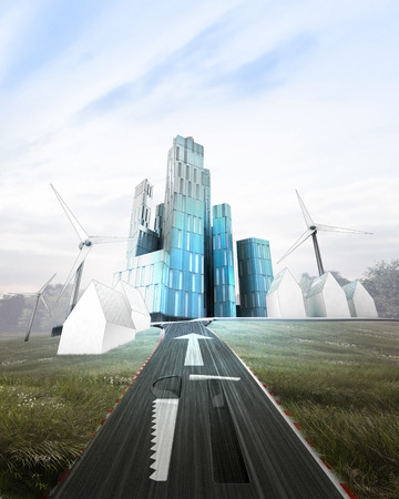 dyi: futuristic business city with painted tools on road illustration