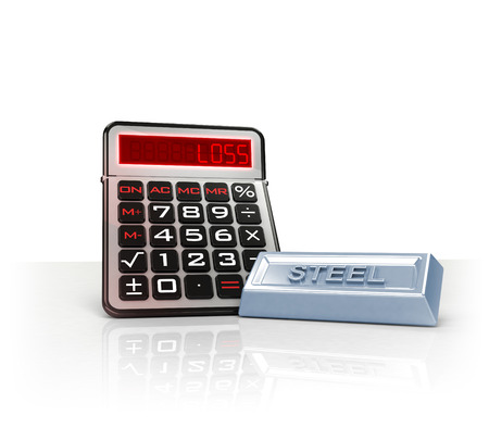steel merchandise with negative business calculations  isolated on white illustration illustration