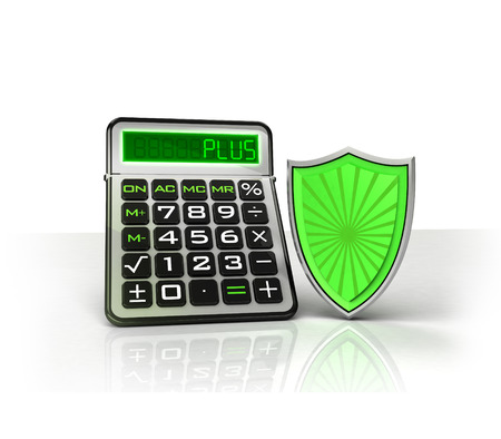 shield with positive business calculations isolated on white illustration