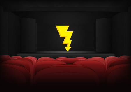 thunderbolt on the stage in theater interior illustration Vector