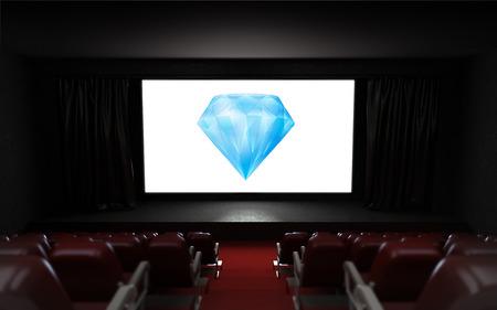 empty cinema auditorium with diamond advertisement on the screen illustration illustration