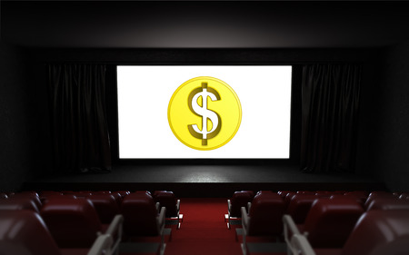 empty cinema auditorium with Dollar coin on the screen illustration illustration