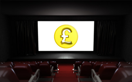 empty cinema auditorium with Pound coin on the screen illustration illustration