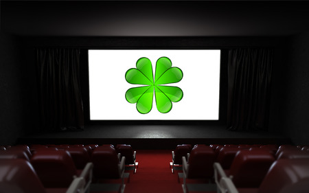 cinema screen: empty cinema auditorium with happiness advertisement on the screen illustration