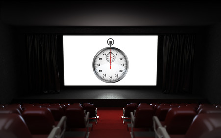 timescale: empty cinema auditorium with timescale advertisement on the screen illustration Stock Photo