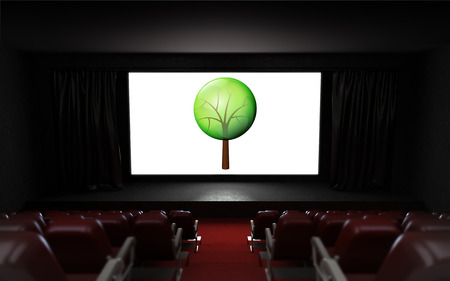 empty cinema auditorium with nature projection on the screen illustration illustration