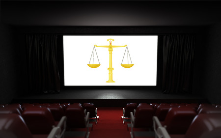 empty cinema auditorium with fair trade advertisement on the screen illustration illustration