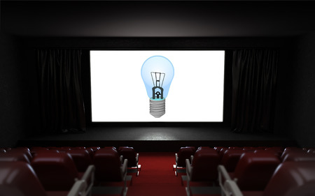 empty cinema auditorium with idea advertisement on the screen illustration illustration