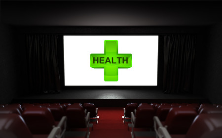 empty cinema auditorium with health advertisement on the screen illustration illustration