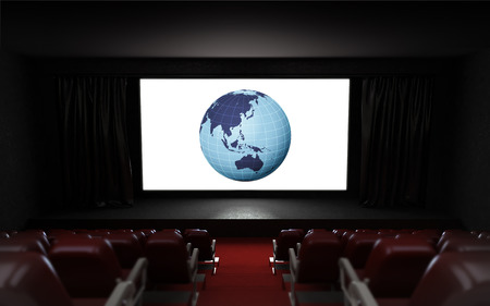 globe theatre: empty cinema auditorium with Asia holiday advertisement on the screen illustration