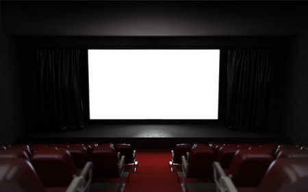 empty cinema auditorium with blank screen frame illustration illustration