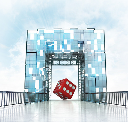 gateway: lucky dice under grand entrance gateway building illustration Stock Photo