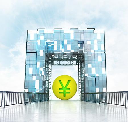 yuan: golden Yuan coin under grand entrance gate building illustration