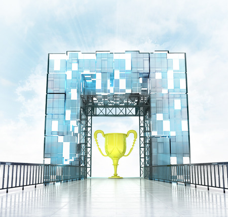 trophy under grand entrance gate building illustration illustration