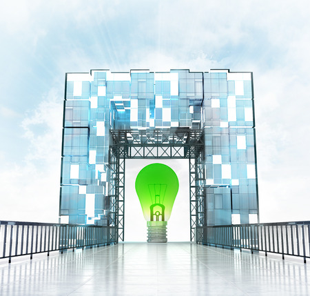 green bulb under grand entrance gate building illustration illustration