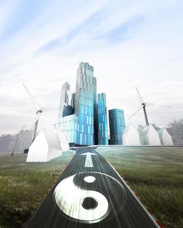 futuristic business city with painted harmony symbol on road illustration illustration