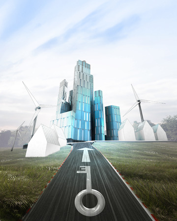 futuristic business city with painted key on road illustration illustration