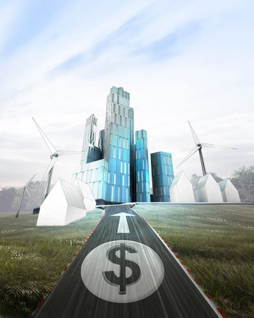 futuristic business city with painted Dollar coin on road illustration illustration
